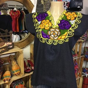 Mexican Embroidered Blouse Denim with Big Flowers